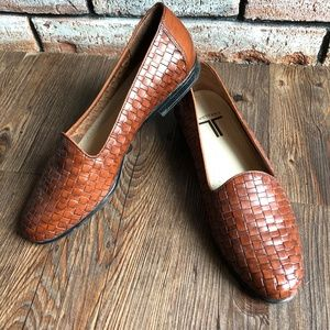 TROTTERS Woven Brown Leather Loafers Flat Shoes  8